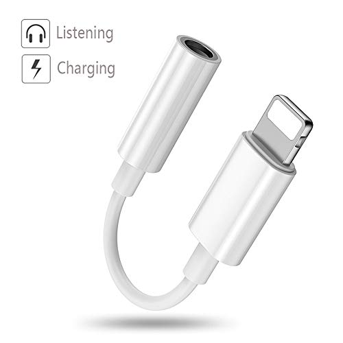 Luvfun Headphone Jack Adapter, 2 in 1 Audio Adaptor to 3.5mm Headset (Support Audio+Charging) Headphone Adapter for iPhone x/8/8Plus/7/7Plus Aux Cable Adapter-White