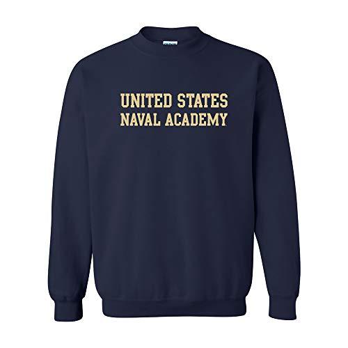 (AW01 - United States Naval Academy Midshipmen Basic Block Crew Sweatshirt - Large - Navy)