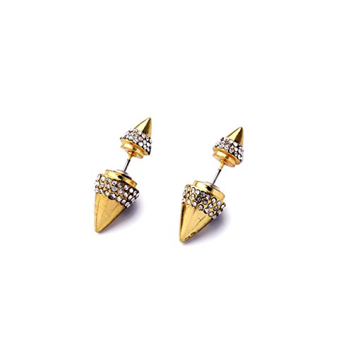 (ptk12 Simulated Pearl Gold Color Earring Punk Rhinestone Spike Earring Stud Factory Direct Sale Pierced Accessories)