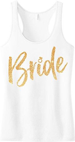 Bride Script Tank Top Gold Glitter Print by NoBull Woman (Small) (Top Print Glitter)