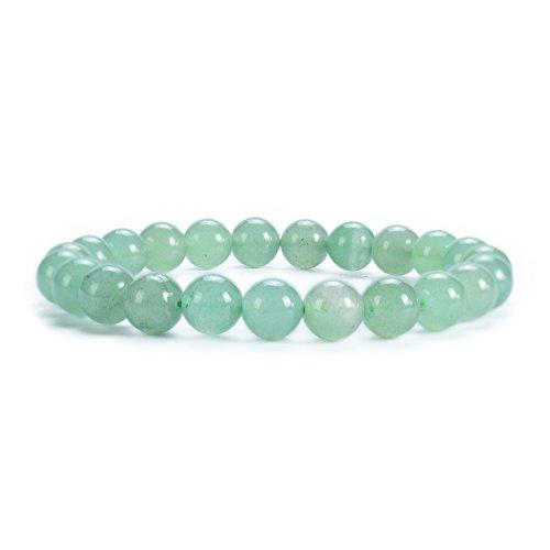 "Cherry Tree Collection Natural Semi-Precious Gemstone Beaded Stretch Bracelet 8mm Round Beads 7"" (Green Aventurine)"