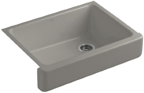 Kohler K-6486-K4 Whitehaven Self-Trimming Apron Front Single Basin Kitchen Sink with Short Apron, Cashmere