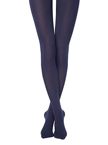 Conte Womens Long Soft Footed Black Cotton Tights 250 Denier