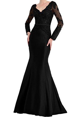 Schwarz Langaem Lang V Mutterkleider Braut Meerjungfrau Abendkleider Ivydressing Spitze Glamour Neck Neu X5Pqz