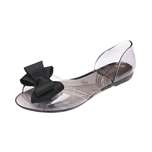 JJLIKER Women Summer PVC Transparent Ribbon Bow Sandals Jelly D'Orsay Flats Peep Toe Slip On Ballet Shoes Black (Patent Toe Black Flats Peep)