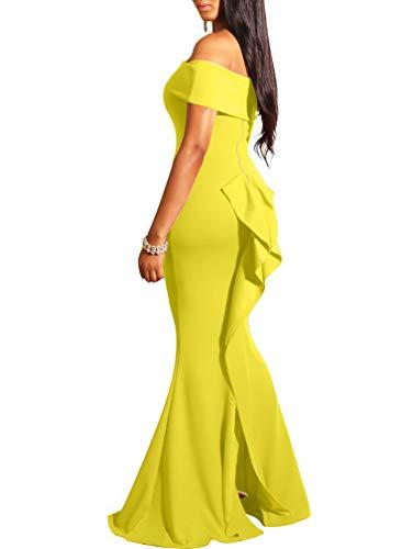 LAGSHIAN Women Elegant Back Ruffles Sexy Off Shoulder Gown Maxi Evening Party Mermaid Dress Yellow