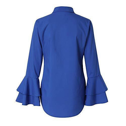 Bleu Tefamore Blouse Solide Flare 2018 Manches De Mode Femmes Chemises Casual Dames wwTfRqP
