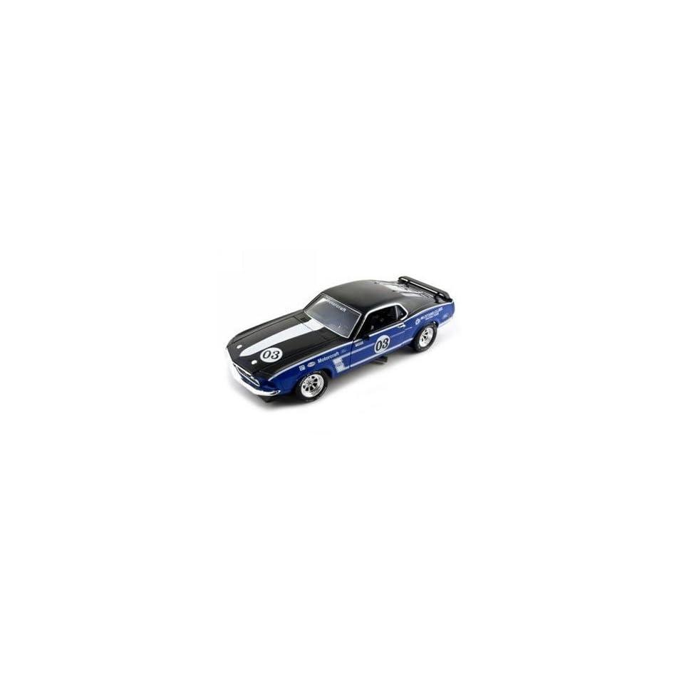 1969 Ford Mustang Boss 302 Diecast Car 1/24 Racer #3 Blue