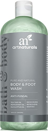 ArtNaturals Essential Body and Foot Wash Tea Tree, Peppermint and Eucalyptus Oil, Natural Eczema Soap for Antifungal Feet, Helps Kill Nail Fungus, Athletes Foot, Ringworm, Jock Itch and Odors, 12oz. - Antiseptic Body