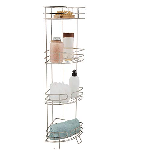 Bath Bliss Park Avenue 4 Tier Free Corner Spa Tower, Towel Stand, Bath Shelves for Bathroom & Shower, Decorative, Satin