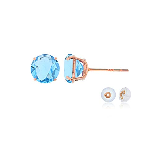 Genuine 14K Solid Rose Gold 6mm Round Natural Sky Blue Topaz December Birthstone Stud Earrings