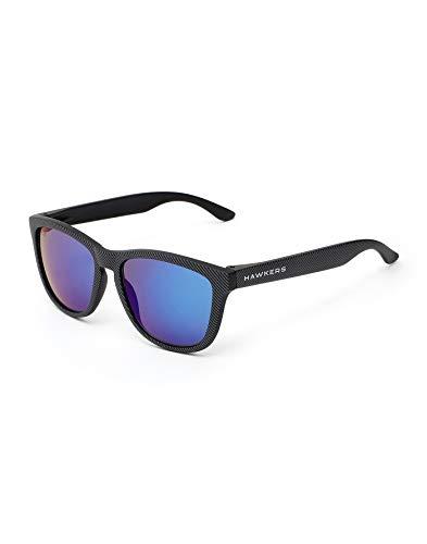 HAWKERS Gafas de Sol ONE Carbono, para Hombre y Mujer, con Montura Negra Mate con Trama y Lente Azul Efecto Espejo, Proteccion UV400