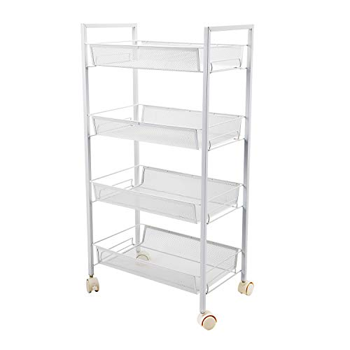 4-Tier Mesh Wire Rolling Cart Multifunction Utility Cart Office Home Kitchen Storage Cart on Wheels, Steel Wire Basket Shelving Trolley,Easy Moving (Whtie)
