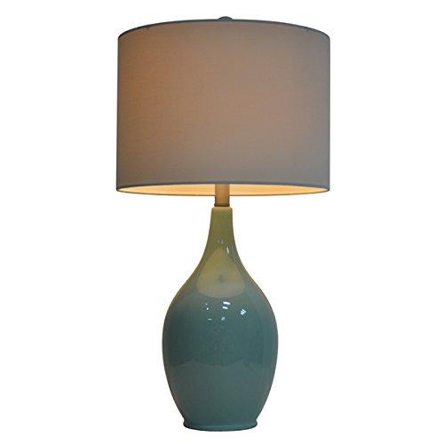 27-inch Spa Blue Ceramic Table Lamp
