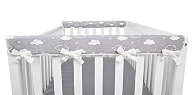 "American Baby Company Heavenly Soft Chenille Reversible Rail Covers for Crib Sides, 2 Piece, Gray & White Narrow for Crib Rails Measuring up to 8"" Around!"