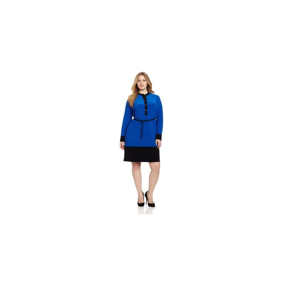 Calvin Klein Womens Colorblocked Shirt Dress, Ultramarine, 0X