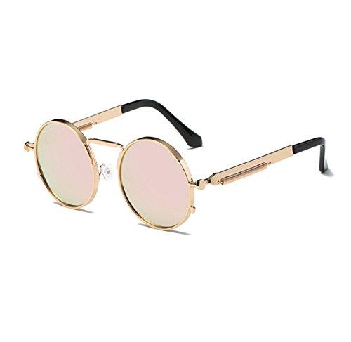 del de de Rosa sol del los de UV400 clásico conduce redondas la vendimia Gafas Oro marco que hippy redondo Steampunk vidrios SpqYt