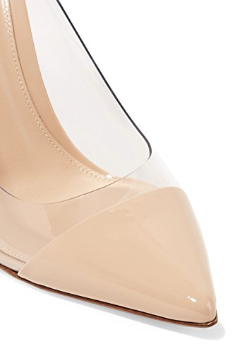 Beige Enfiler Fermé Edefs Pvc Aiguille Escarpins Taille Transparent A Bout Chaussures Femmes Talon vUU7xwqAn