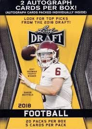 (2018 LEAF NFL DRAFT Series Factory Sealed Blaster Box of Packs with 2 GUARANTEED Autographed Cards per box! One of the First 2018 Football Products on the market!)