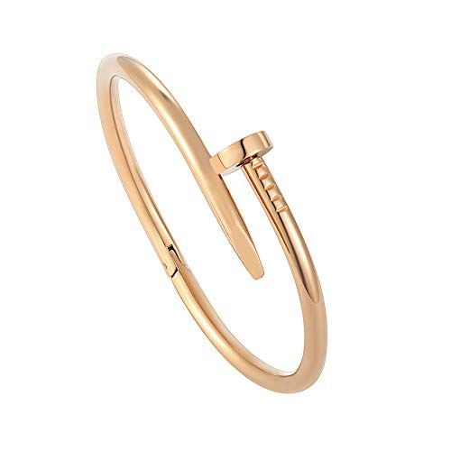 Z.RACLE Nail Bracelets for Women Inspired Stainless Steel Love Bangle Bracelets Rose Gold 6.3IN by Z.RACLE (Image #2)