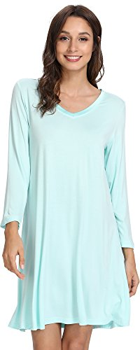 GYS Women's V Neck Sleeved Nightshirt Soft Bamboo Nightgown, X-Large, Aqua Green -