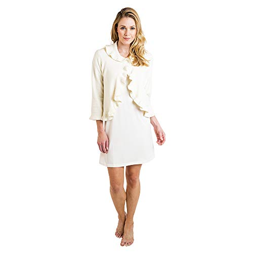 Ruffle Bed Jacket - Softies Women's Ruffle Chenille Bed Jacket (Medium, Ivory)
