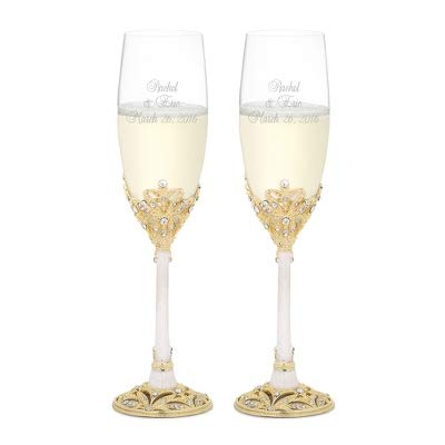 Classic Gold Flutes - Things Remembered Personalized Gold and Pearl Enamel Crown Flute Set with Engraving Included