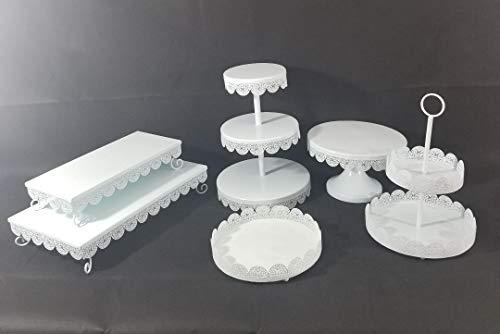 Unique 6pcs White Metal Cake and Treat Stand - Lace Design Perfect for all Party decorations ()