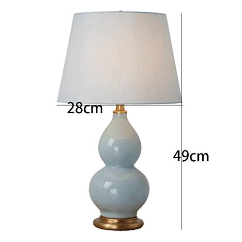 (AOLI Table Lamp New Chinese Luxury Gourd Shape Ceramic Table Lamp, Bedroom Living Room Bedside Lamp Light Blue,H49CmW28Cm)