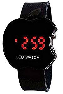 Y&S Apple Shape Plastic Digital Black Dial LED Light Powered Movement Children's Watch