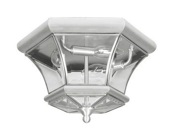 Livex Lighting 7053-91 Monterey 3 Light Outdoor/Indoor Brushed Nickel Finish Solid Brass Flush Mount with Clear Beveled Glass