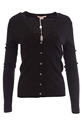 Michael Kors Women's 100% Cashmere Button Down Sweater Small Black ...