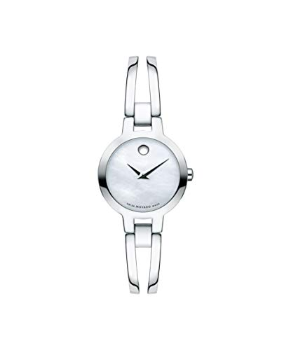 - Movado Amorosa, Stainless Steel Case, White Mother of Pearl Dial, Stainless Steel Bangle, Women, 0607357