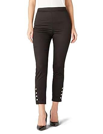 İpekyol Kadın Paçası Düğme Şeritli Lastik Bel Pantolon, Siyah, 34 Beden