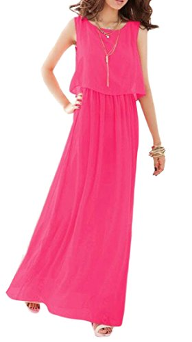 Beach Watermelon Long Solid Women Bohemia Cromoncent Dress Sleeveless Chiffon Red Y8X4w6
