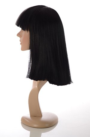 Amazon Long Black And White Blunt Cut Bob Costume Wig With Fringe