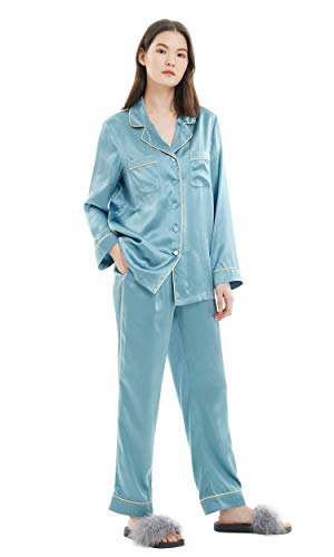 LilySilk Large Silk Satin Pajamas for Women 2pc Long Sleeve Real 100 Natural Mulberry Raw Silk Gold Piping Vintage Soft Luxury Sleepwear Blue Haze ()