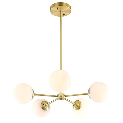 IJ INJUICY 5-Lights Glass Chandelier Pendant, Brushed Brass with White Frosted Globes, Branch Molecule Magic Bean Pendant Light for Living Dining Room, Restaurant, Bedroom (A)