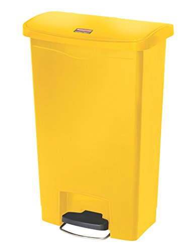 Rubbermaid Commercial Slim Jim Resin Step-On Wastebasket, Front-Step, 13-gallon, Yellow (1883575)
