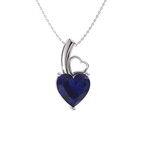 Diamondere Natural and Certified Heart Cut Blue Sapphire Solitaire Petite Necklace in 14k White Gold   0.42 Carat Pendant with Chain