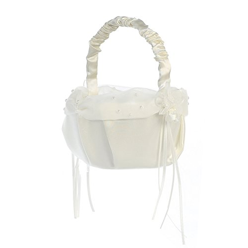 Lito Ivory Pearled Organza Trim Satin Flower Girl Basket -