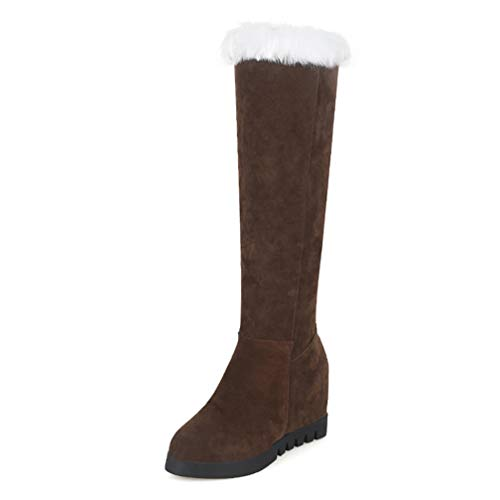 QSCQ Womens Fur Lined Snow Boots Height Increasing for Cold Slip On Winter Warm Heel Knee Boots