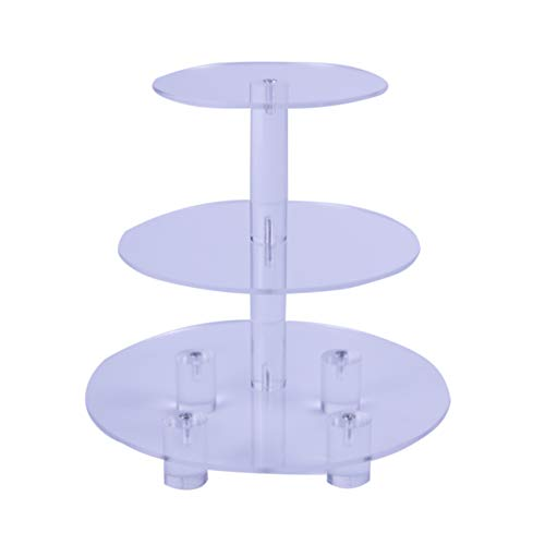 Round 3 Tier transparent Acrylic Cupcake Stand cake holder acrylic cake display stand (With Base) 3 Tier Round with base (4