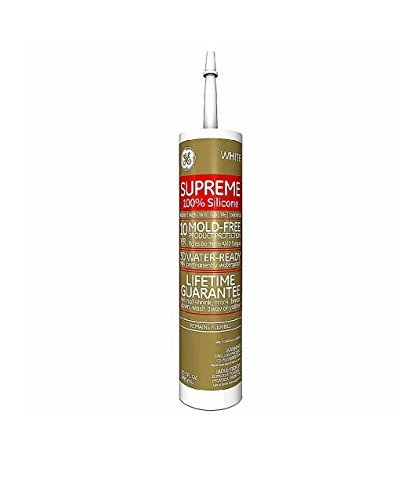 (GE Supreme 100% Silicone 30 Min. Water-Ready caulk, 10.1 oz cartridge, White)