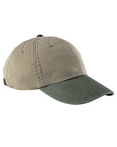 (Adams 6-Panel Low-Profile Washed Pigment-Dyed Cap, Khk/ Spruce Grn, OS)