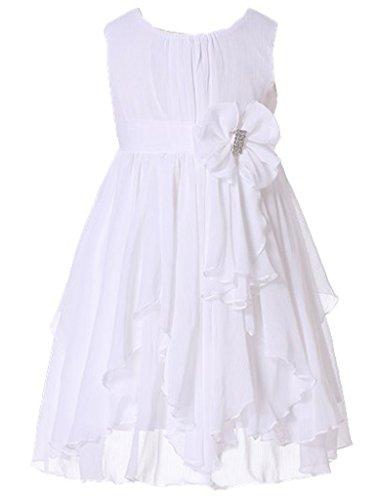 (Bow Dream Flower Girl Dress Bridesmaid Ruffled Chiffon White)