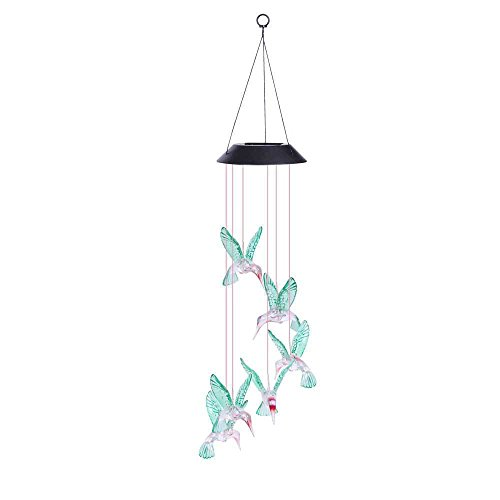 MOMTUESDAYS2 Solar Color Changing LED Hummingbird Wind Chimes Home Garden Decor Light Lamp