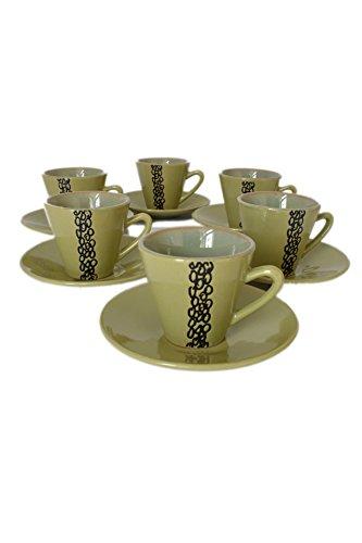 Set of 12 Green Porcelain 3oz Espresso Demitasse Cups & Saucers ()
