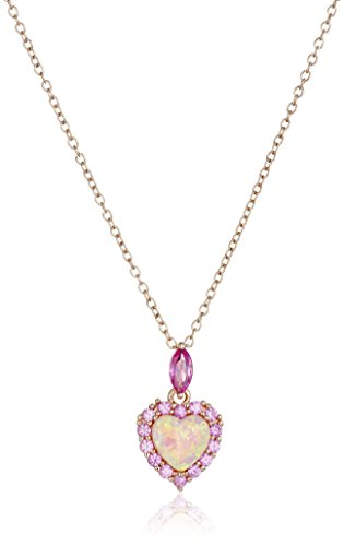 Rose Gold-Plated Sterling Silver Created Pink Opal and Created Pink Sapphire Heart Pendant Necklace, 18