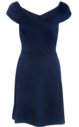 ecowish Womens V Blackless Cuello Sin Mangas Mini Skater vestido de verano Azul